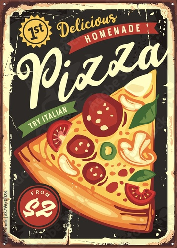 Fototapeta Delicious pizza slice on black board background. Vintage pizzeria or fast food restaurant tin sign.  Italian cuisine retro poster design. obraz
