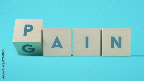 Obraz na płótnie No pain no gain cubes 3d rendering