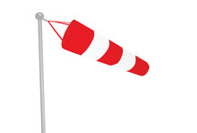 Red And White Windsock. Vector