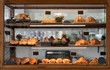 Variety baked bread and dessert in glass showcase at bakery