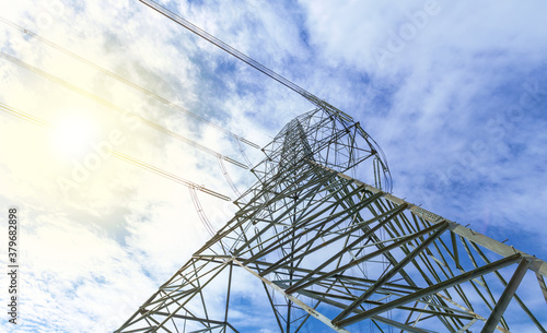 Tela Electric pole and bright sky with sunlight, Natural force and electricity power