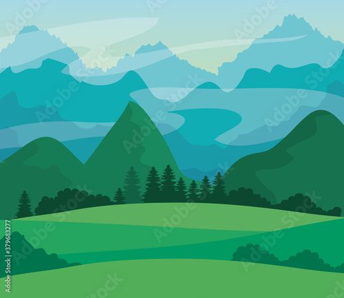 Fotografija landscape nature with grass field and mountains vector illustration design