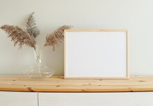 Horizontal Wooden Frame Mockup For Photo, Print, Painting, Artwork Presentation, Boho Style Decorations, Wooden Shelf.