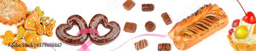 Set of confectionery and sweets isolated on a white . Panoramic collage. Wide photo.