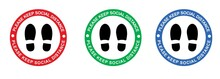 Please Keep Social Distance Multicoloured Decal Feet Floor Covid-19 Sticker