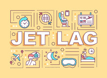 Jet Lag Word Concepts Banner. Common Sleep Disorder, Circadian Rhythms Disruption. Infographics With Linear Icons On Yellow Background. Isolated Typography. Vector Outline RGB Color Illustration