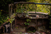Abandoned Rusty SUV In The Thi...