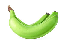 Green Banana Bundle Isolated On A White Background. Three Green Bananas.
