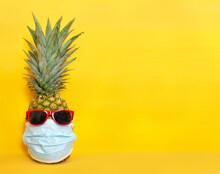 Pineapple Wearing Mask And Sun...