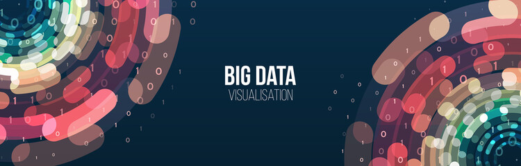 Wide Big data visualization. Abstract background with lines array and binary code. Connection structure. Data array visual concept. Big data connection complex.