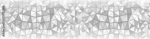 Abstract geometric background consisting of gray and white triangles Fototapeta