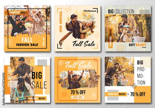 Fototapeta Fall Social Media Banners obraz