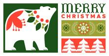 Merry Christmas Flat Folk Art Polar Bear Banner