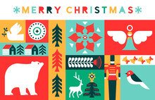 Merry Christmas Retro Folk Art Holiday Mosaic Card