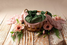 Baby Cot For A Photo Shoot Of Newborns. Props For A Photo Shoot. The Bed Is Decorated With Magnolias. Furniture For Dolls