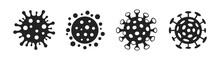 Set Of Coronavirus Or Flu Virus Vector Icons Isolated On A White Background.