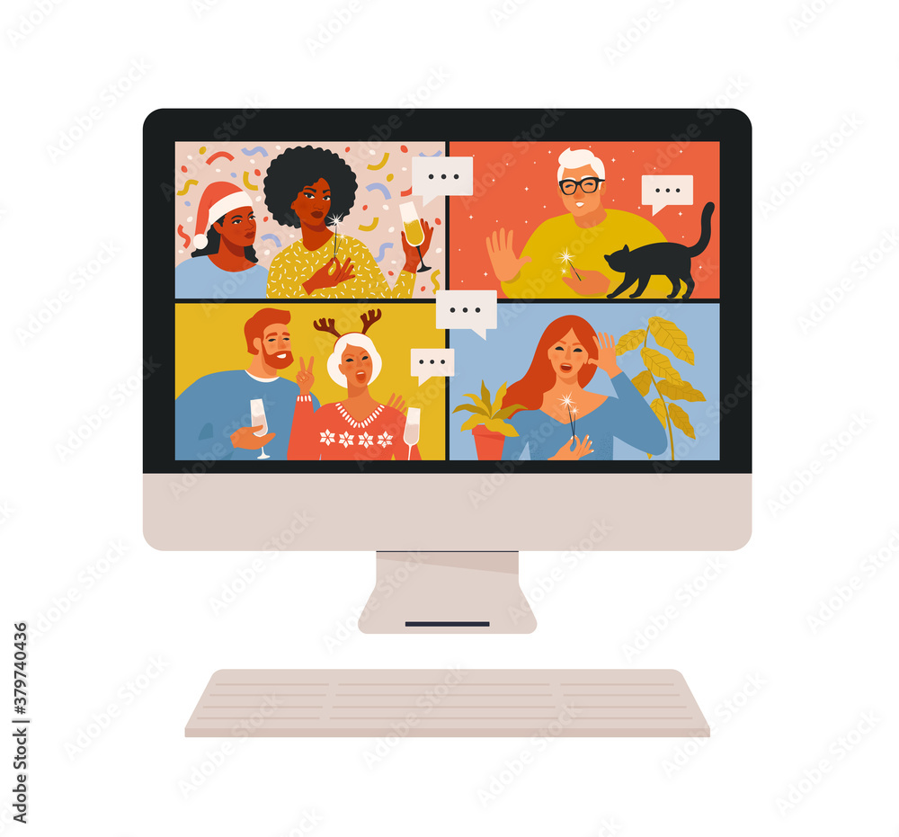Fototapeta Concept of videoconference and web communication. Team meeting online. Smiling man and women work remotely and have a Christmas virtual discussion. Vector illustration in flat cartoon style.