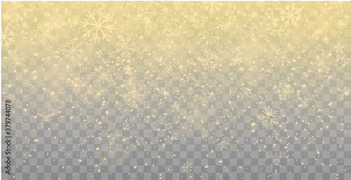 Obraz Seamless realistic falling gold snow or snowflakes. Isolated on transparent background - stock vector. - fototapety do salonu