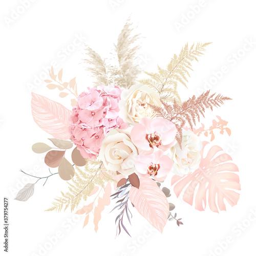 Luxurious beige trendy vector design floral bouquet Fototapete