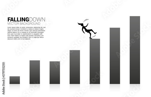 Cuadros en Lienzo silhouette of businesswoman slip and falling down from growing graph