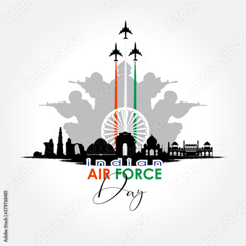 Vector illustration of Indian Air Force Day. vector Fotobehang