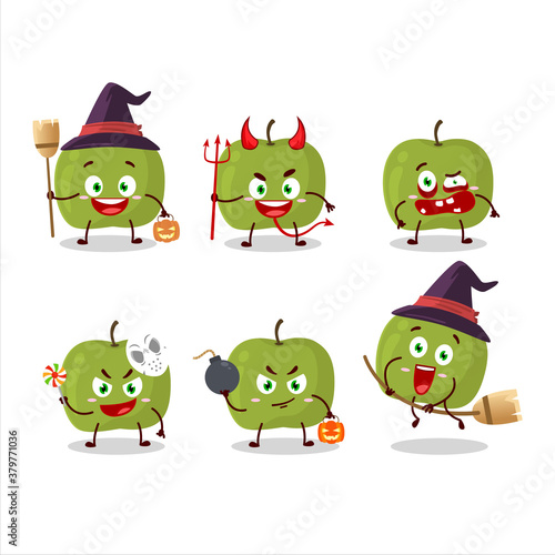Halloween expression emoticons with cartoon character of green apple Fototapet