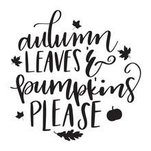 Autumn Leaves And Pumpkins Ple...
