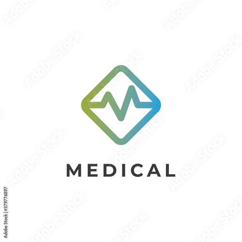 Cuadros en Lienzo Medical logo design vector template.Letter M for medical symbol