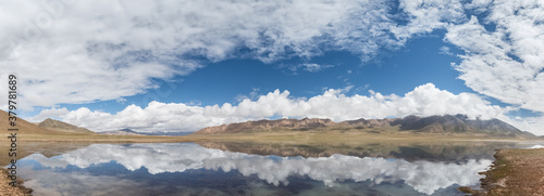 plateau lake and blue sky reflection panorama