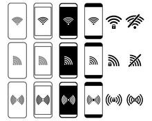 Set Of Smartphone Wifi Icon. Phone Wifi. Wireles Signal. Wireless Access Icons