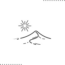 Sand Dune Vector Icon In Outline
