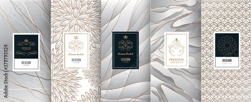 Foto Collection of design elements,labels,icon,frames, for packaging,design of luxury products