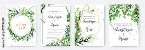 Wedding invitation frame set; flowers, leaves, watercolor, isolated on white Fototapeta