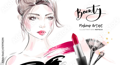 Fotografía Hand drawn beautiful young woman face makeup with smudged red lipstick and brushes vector fashion illustration for cosmetic sale banner background design, makeup artist business card template