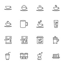 Coffee Shop Line Icons Set, Outline Vector Symbol Collection, Linear Style Pictogram Pack. Signs, Logo Illustration. Set Includes Icons As French Press, Coffee Machine, Tea Cup, Cold Water Glass, Cake