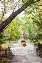 Four Wheel Drive Crossing A Creek, Kakadu NP, NT, Australia