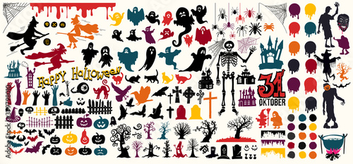 Mega set of halloween silhouettes black, yellow, orange, green icon and character. Collection cartoon vector illustration. Isolated on white background. - 379798010