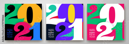 Foto Set of creative concept of 2021 Happy New Year posters