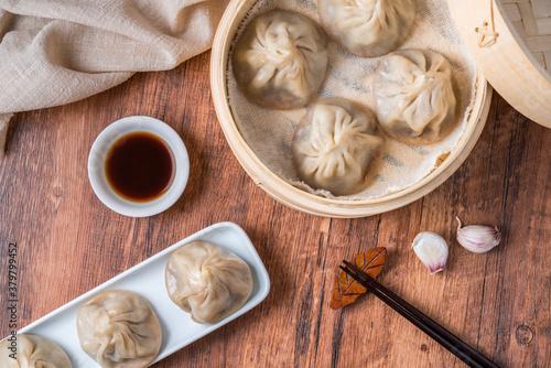 Valokuvatapetti Fresh meat dumplings, a specialty gourmet in Wuxi, Jiangsu, China