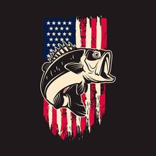 Illustration Of Bass Fish Of Background Of Usa Flag In Grunge Style. Design Element For Poster,card, Banner, Sign, Emblem. Vector Illustration