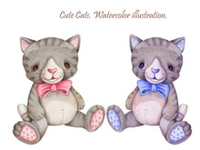 Two Cute Cartoon Cats Kittens ...