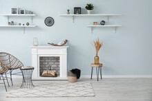 Modern Fireplace With Shelves ...