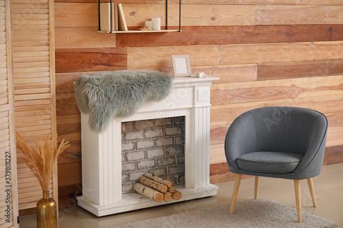 Fototapeta Interior of modern room with fireplace obraz