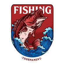 Vector Of Big Bass Or Red Snapper Fish For Fishing Tournament Badge Logo