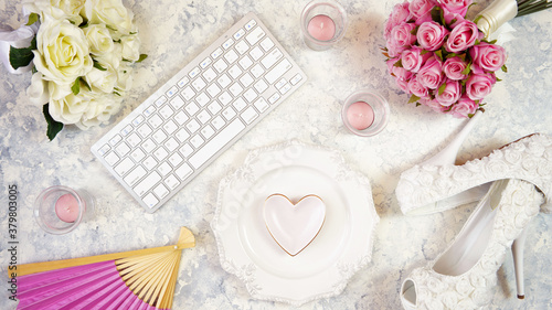 Foto White aesthetic wedding bridal theme desktop workspace with high heel shoes, bouquets and accessories on stylish white textured background