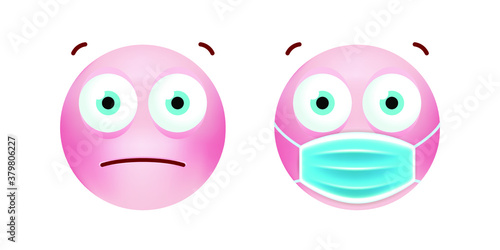Photo Cute Emoticon with Cartoon Style with Medical Facial Mask on White Background