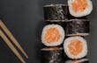 Japanese sushi maki on background.