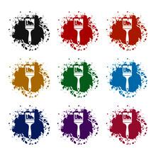 Paint Brush Icon, Color Set