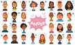 Facial expressions of anger. Angry men and women. Set of diverse people on white background. Vector illustration in flat cartoon style.