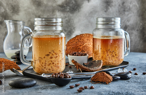Thai Iced Coffee with Coconut Milk with Crushed Ice in a Mason Jar Canvas-taulu